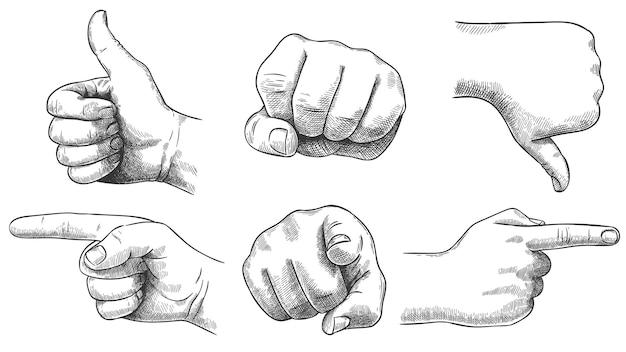 Gegraveerde handen gebaren set