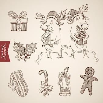 Gegraveerde kerst illustratie