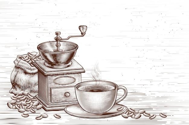 Gegraveerde retro coffeeshop achtergrond in bruin en wit