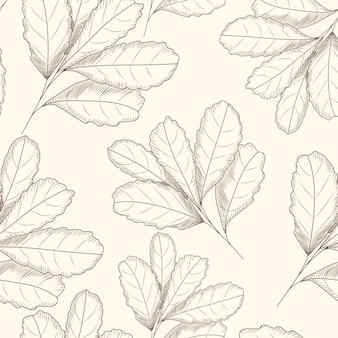 Gegraveerde stijl blad naadloze patroon