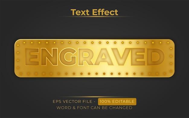 Gegraveerde teksteffectstijl bewerkbaar teksteffect gouden plaatthema