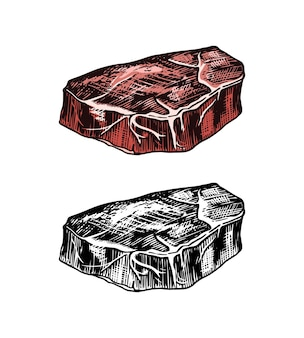 Gegrild vlees steak bbq varkensvlees of rundvlees barbecue eten in vintage stijlsjabloon