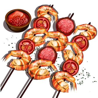 Gegrilde garnalen eten voorgerecht eenvoudig gerecht stijl geserveerd chilisaus