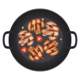 Gegrilde koninklijke champignon champignons segment, in een pan met chili pepers, geïsoleerd op een witte achtergrond. illustratie.