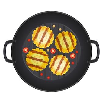 Gegrilde maïskolf in een pan met chilipepers, geïsoleerd op een witte achtergrond. rijpe maïs. illustratie.