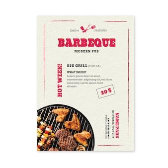 Gegrilde vers voedsel bbq-sjabloon folder