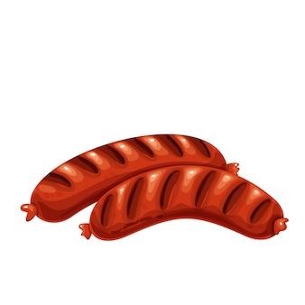 Gegrilde worstjes illustratie. gebakken braadworst varkensworst, bbq-voedsel.