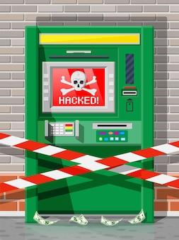 Gehackt atm-concept, afromen, geld stelen van geldautomaat