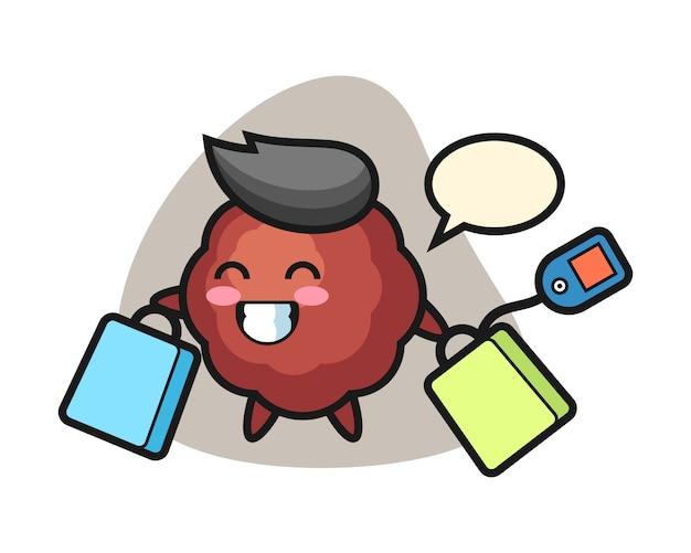 Gehaktbal cartoon houden een boodschappentas