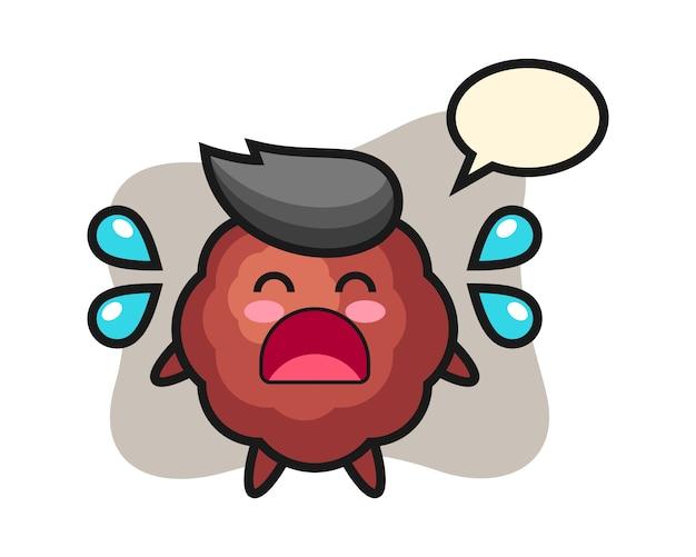 Gehaktbal cartoon met huilen gebaar