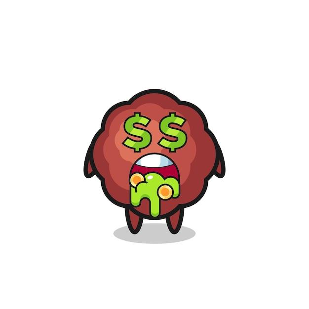 Gehaktbalkarakter met een uitdrukking van gek op geld