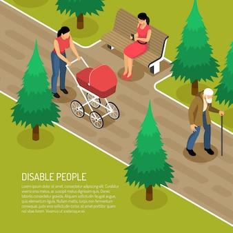 Gehandicapt bejaarde met lopend riet en twee vrouwen in 3d park