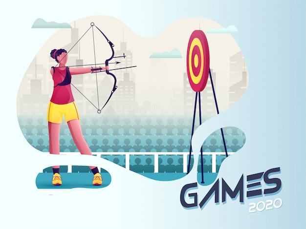 Gehandicapt jong meisje dat zich richt op boogpijl in dartbord met stadsgezichtweergave voor games 2020.
