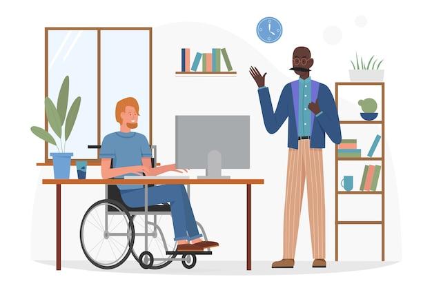 Gehandicapt karakter dat in de illustratie van het bedrijfsbureau werkt.