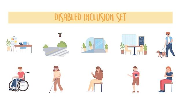 Gehandicapte inclusie set mensen activiteit werk wandelen cartoon afbeelding