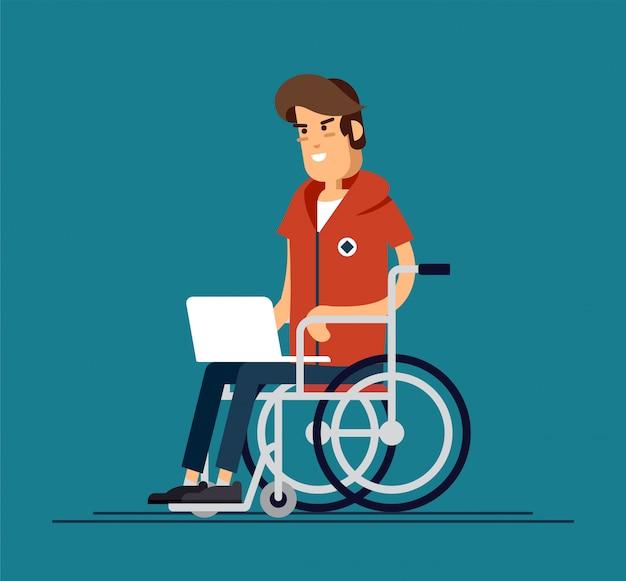 Gehandicapte jonge mens in rolstoel die met computer werkt. productieve online baan. handicap, sociaal beleidsconcept