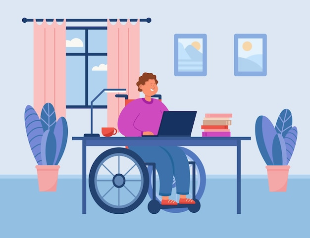 Gehandicapte man in rolstoel die thuis op de computer werkt