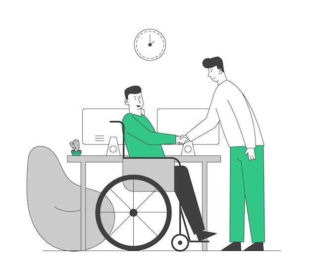 Gehandicapte man in rolstoel hand schudden met partner of baas in kantoor