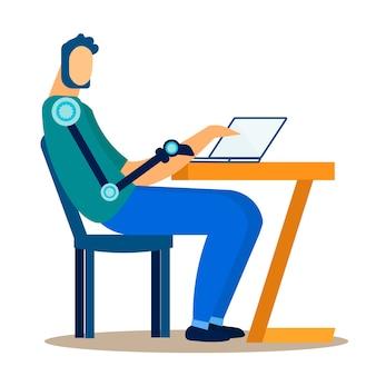 Gehandicapte mannelijke freelancer flat vector illustration