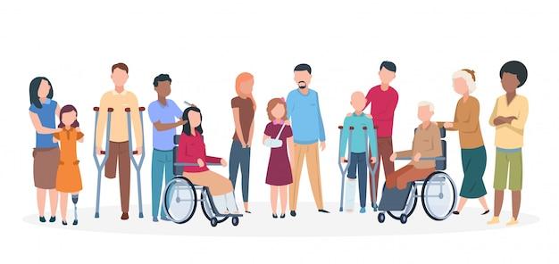 Gehandicapte mensen. mensen met een handicap gelukkig vriendelijke familie. schakel verwondingspersonen met assistenten uit