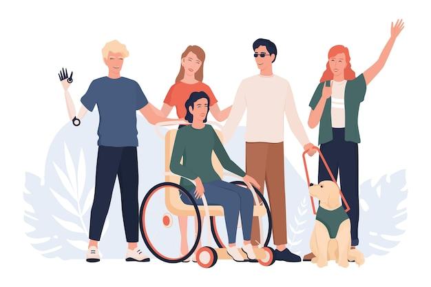 Gehandicapte mensen staan samen. gehandicapte mensen die een actief levensconcept, capabelheid en devirsiteit leven. mensen met prothese en in rolstoel, doofstom en blind.