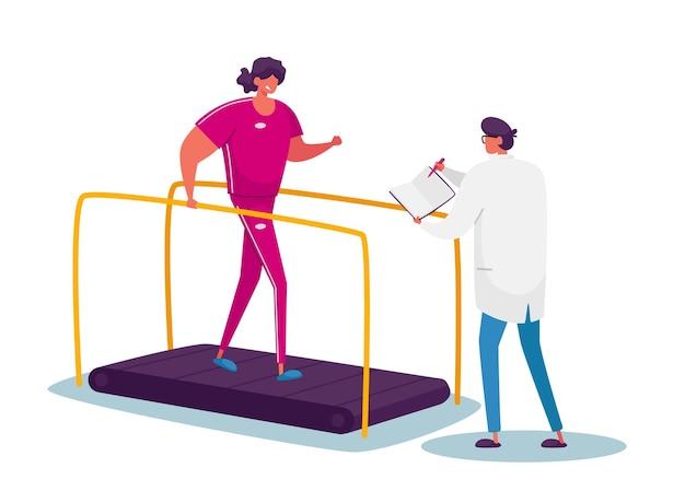 Gehandicapte patiënt, oefeningen, fysiotherapieprocedure. revalidatie van fysieke activiteit, therapierevalidatie