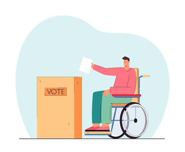 Gehandicapte persoon op rolstoel die stempapier in de stembus zet. gehandicapte man bij stembureau vlakke afbeelding