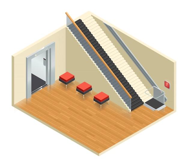 Gehandicapte toegang lift lift roltrap isometrische interieur samenstelling