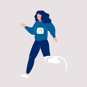 Gehandicapte vrouw met prothetische been loopt een marathon.