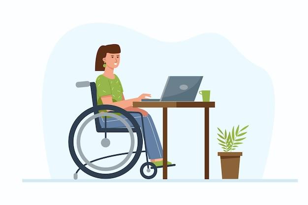 Gehandicapte vrouw op extern werk vanuit huis. een freelancermeisje in een rolstoel zit met laptop. het concept van werkgelegenheid voor mensen met speciale behoeften.