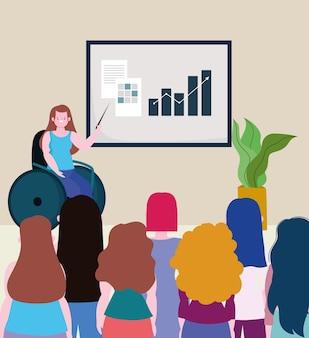 Gehandicapte vrouw zittend in een rolstoel kantoor vergadering presentatie mensen, opname illustratie
