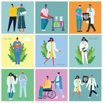 Gehandicapten, jonge gehandicapten en vrienden die helpen. werelddag voor handicaps. platte stripfiguren.
