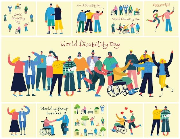 Gehandicapten, jonge invaliden en mannen en vrouwen die helpen. wereld zonder grenzen. plat moderne stripfiguren.