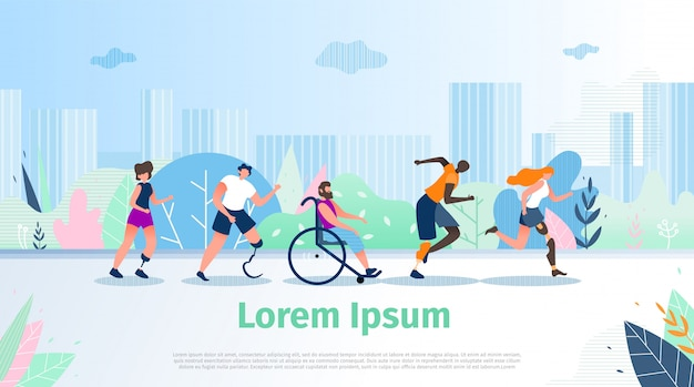 Gehandicapten outdoor activity vector banner