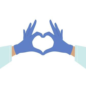 Gehandschoende handen die hartteken maken dat op witte achtergrond wordt geïsoleerd. zorg voor jezelf. handen in medische handschoenen. hart met handen. rubberen handschoenen. virus bescherming.