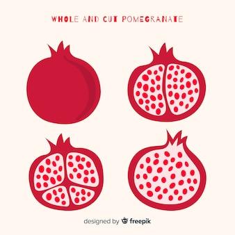 Geheel en gesneden granaatappel