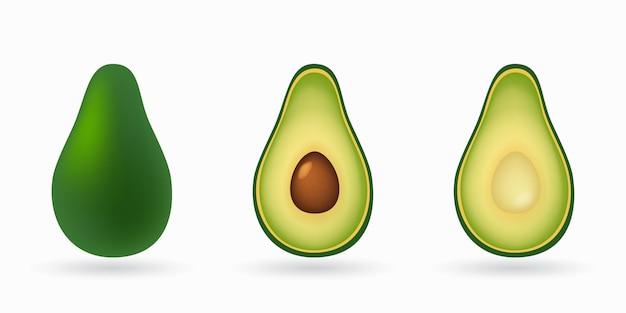 Geheel en in tweeën gesneden avocado geïsoleerd