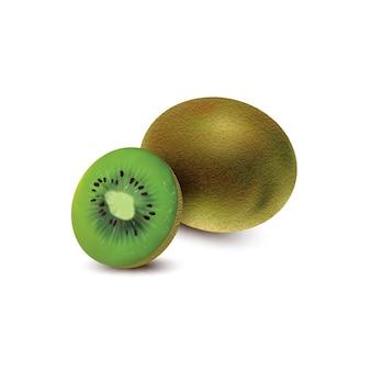 Geheel en stuk van kiwifruit dat op witte achtergrond wordt geïsoleerd