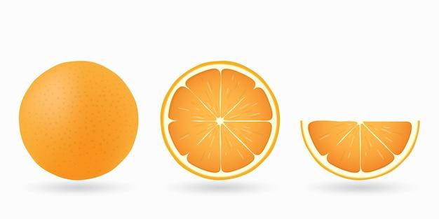 Geheel, snijd de helft, plak, stuk sinaasappel geïsoleerd
