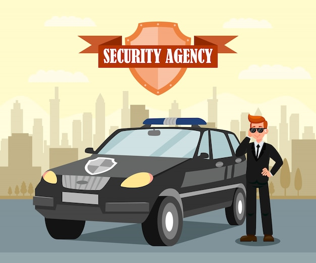 Geheim agent en auto platte vectorillustratie