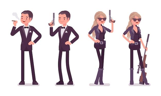 Geheim agent man en vrouw met pistool
