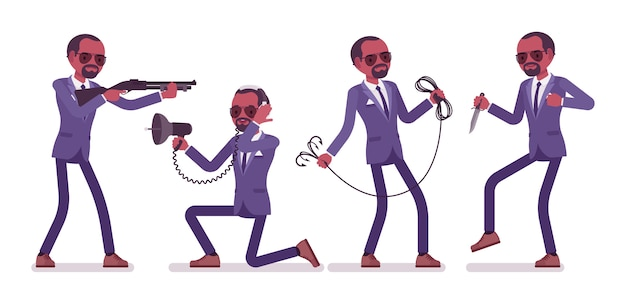 Geheimagent zwarte man, heer spion van inlichtingendienst, onthult gegevens, verzamelt politieke, zakelijke informatie, pleegt bedrijfsspionage met tools. stijl cartoon illustratie