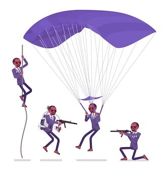 Geheimagent zwarte man, heer spion van inlichtingendienst, onthult gegevens, verzamelt politieke, zakelijke informatie, pleegt bedrijfsspionage op parachute. stijl cartoon illustratie