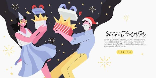 Geheime kerstman en kerst- of nieuwjaarsbanner.