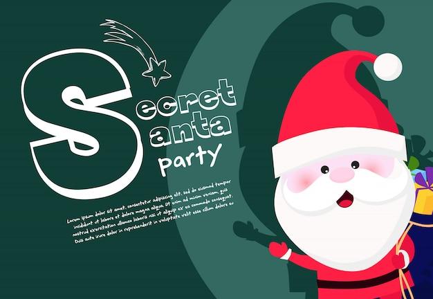 Geheime santa-partijbanner met opgewekte kerstman die zak houden