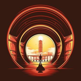Geheime toren illustratie Premium Vector