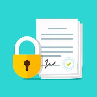 Geheimhoudingsverklaring illustratie, nda vertrouwelijke gegevens geheimhouding
