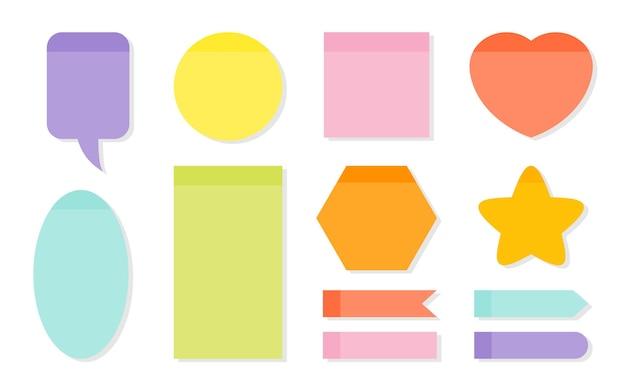 Geheugen notities planning sticker set sjabloon leeg gekleurd papier voor kladblok of takenlijst verschillende vormen als toespraak bubble hart ronde ster vierkante kit memo lege herinneringen vectorillustratie