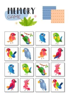 Geheugenspel met cartoon tropische papegaaien.