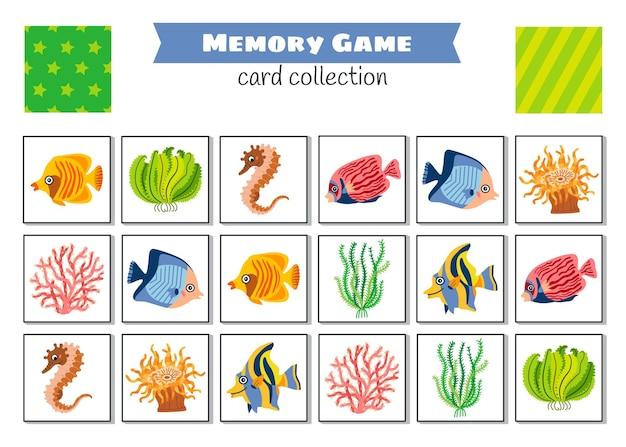 Geheugenspel met cartoonvissen. kinderen leren collectie.